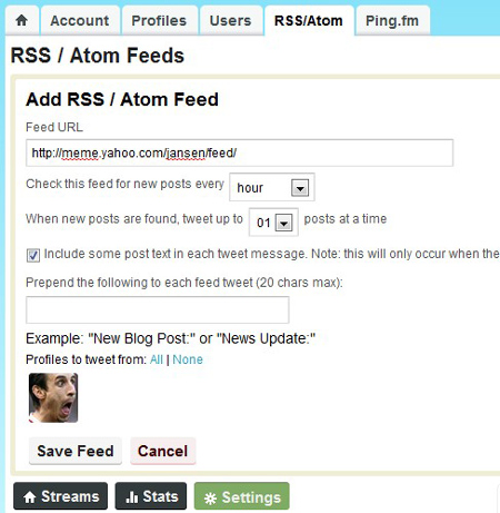 Hootsuite RSS/Atom Interface